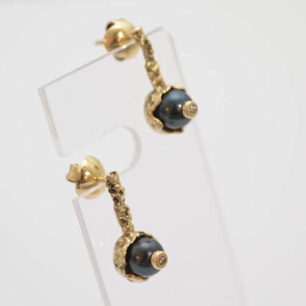 Aros Perla Negra Brillante