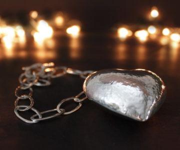 collar corazon en cadena